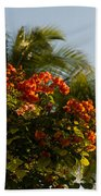 Bougainvilleas And Palm Trees Swaying In The Wind In Waikiki Honolulu Hawaii Bath Towel