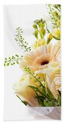 Bouquet Of Flowers On White Background Bath Towel