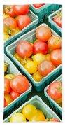 Boxes Of Cherry Tomatoes On Display Bath Towel