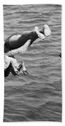 Boy And His Dog Dive Together Hand Towel by Underwood Archives
