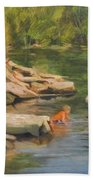 Boys Playing In The Creek Hand Towel