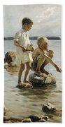 Boys Playing On The Shore Bath Towel