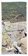 Brahmans Along Bagmati River In Pasupatinath Temple Of Cremation Complex In Kathmandu-nepal  Bath Towel