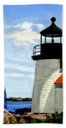 Brant Point Lighthouse Nantucket Massachusetts Bath Towel