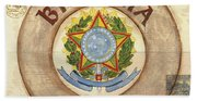 Brazil Coat Of Arms Hand Towel