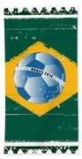 Brazil Flag Like Stamp In Grunge Style Bath Towel