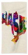 Brazil Typographic Watercolor Map Bath Towel