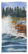 Breakers At Pemaquid Bath Towel