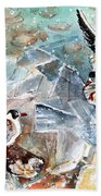Breaking The Ice On Lake Constance Bath Towel