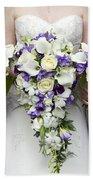Bride And Bridesmaids With Wedding Bouquets Bath Towel