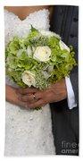 Bride And Groom With Wedding Bouquet Bath Towel
