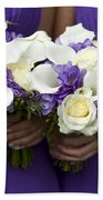 Bridesmaids With Wedding Bouquets Bath Towel