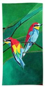 Brighly Colored European Bee-eaters Bath Towel