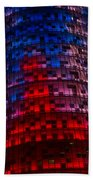 Bright Blue Red And Pink Illumination - Agbar Tower Barcelona Bath Towel