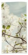Bright White Dogwood Flowers Against A Pastel Blue Sky With Dreamy Bokeh Bath Towel