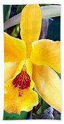 Bright Yellow And Red Cattleya Orchid Bath Towel