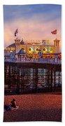 Brighton's Palace Pier At Dusk Bath Towel