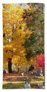Brilliant Colors In The Cemetery  Bath Towel
