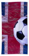 British Flag And Soccer Ball Bath Towel