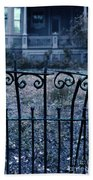 Broken Iron Fence By Old House Bath Towel