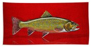 Brook Trout On Red Leather Bath Towel