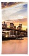 Brooklyn Bridge At Sunset  Bath Towel