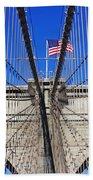Brooklyn Bridge With American Flag Bath Towel