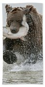 Brown Bear With Salmon Catch Bath Towel