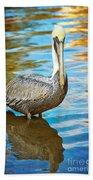Brown Pelican Along The Bayou Bath Towel