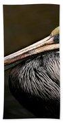 Brown Pelican Portrait Bath Towel