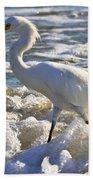 Bubbles Around Snowy Egret Bath Towel