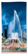 Buckingham Fountain Skyline Panorama Bath Towel