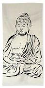 Buddha In Black And White Bath Towel
