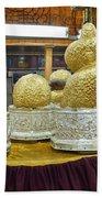 Buddha Figures With Thick Layer Of Gold Leaf In Phaung Daw U Pagoda Myanmar Bath Towel