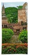 Buddhas In Wat Mahathat In 13th Century Sukhothai Historical Park-thailand Bath Towel
