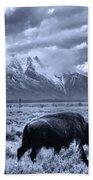 Buffalo And Mountain In Jackson Hole Bath Towel