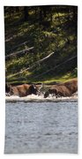 Buffalo Crossing - Yellowstone National Park - Wyoming Bath Towel