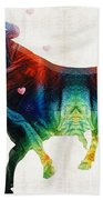 Bull Art - Love A Bull 2 - By Sharon Cummings Bath Towel