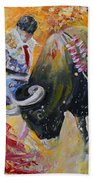 Bullfighting In Neon Light 02 Bath Towel