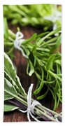 Bunches Of Fresh Herbs Bath Towel