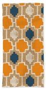 Burlap Blue And Orange Design Hand Towel by Linda Woods
