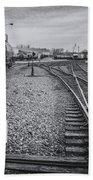 Burlington Vermont Train Yard Vintage Grunge Black And White Bath Towel