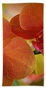 Burnt Orange Orchids Bath Towel
