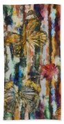 Butterflies In Plum Blossoms And Texture Hand Towel