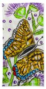 Butterfly And Thistles Bath Towel