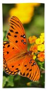 Butterfly In The Glades - Gulf Fritillary Bath Towel