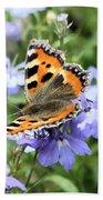 Butterfly On Blue Flower Bath Towel