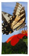 Butterfly On Red Daisy Bath Towel