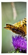 Butterfly On Thistle Bath Towel