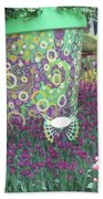 Butterfly Park Garden Painted Green Theme Hand Towel